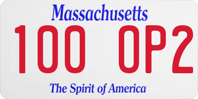 MA license plate 100OP2