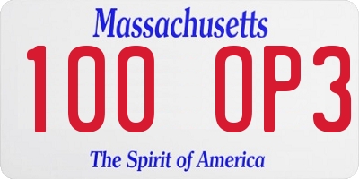 MA license plate 100OP3