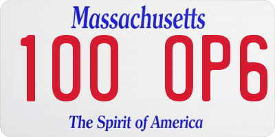 MA license plate 100OP6