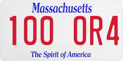 MA license plate 100OR4
