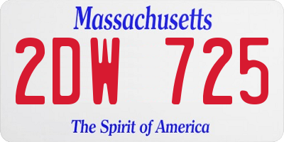 MA license plate 2DW725