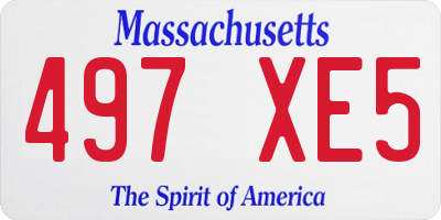 MA license plate 497XE5