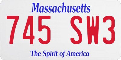 MA license plate 745SW3