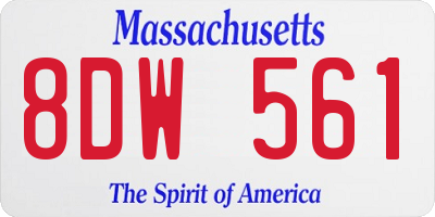 MA license plate 8DW561