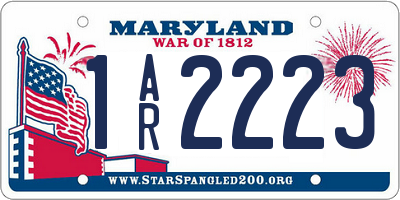 MD license plate 1AR2223