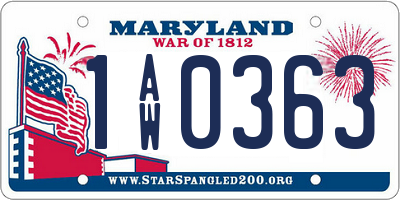 MD license plate 1AW0363