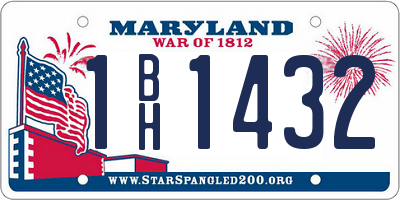 MD license plate 1BH1432