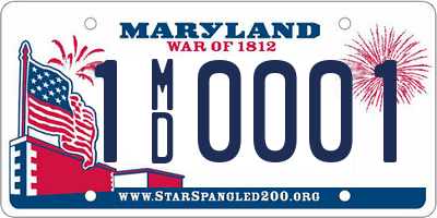 MD license plate 1MD0001