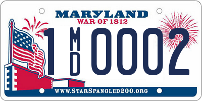 MD license plate 1MD0002