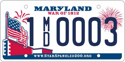 MD license plate 1MD0003