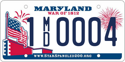 MD license plate 1MD0004