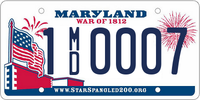 MD license plate 1MD0007
