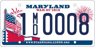 MD license plate 1MD0008