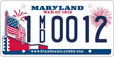 MD license plate 1MD0012