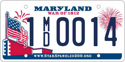 MD license plate 1MD0014