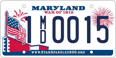 MD license plate 1MD0015