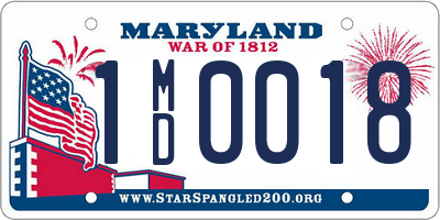 MD license plate 1MD0018