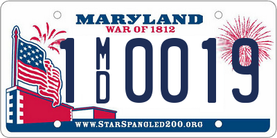 MD license plate 1MD0019