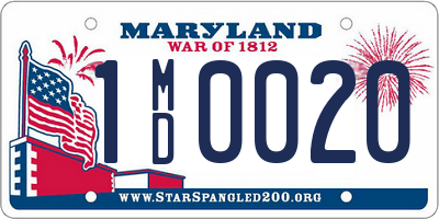 MD license plate 1MD0020