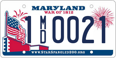 MD license plate 1MD0021