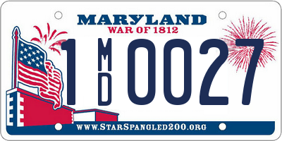 MD license plate 1MD0027