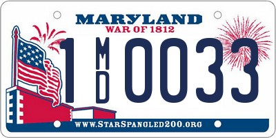 MD license plate 1MD0033