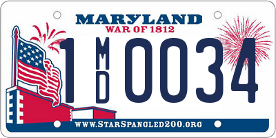 MD license plate 1MD0034