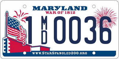 MD license plate 1MD0036