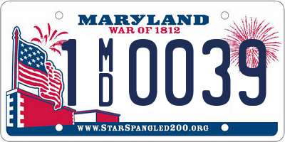 MD license plate 1MD0039