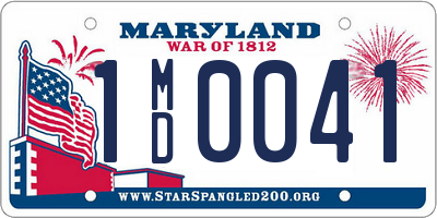 MD license plate 1MD0041