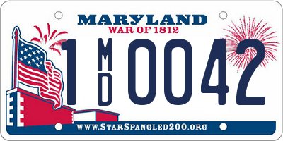 MD license plate 1MD0042