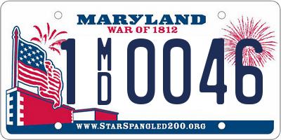 MD license plate 1MD0046