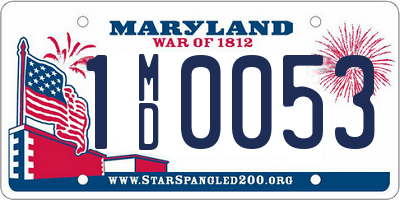 MD license plate 1MD0053