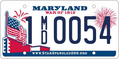 MD license plate 1MD0054