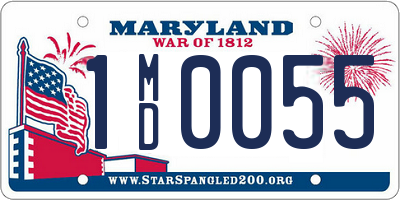 MD license plate 1MD0055