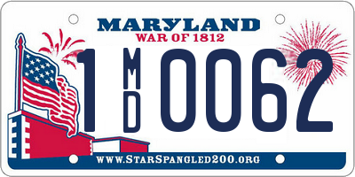 MD license plate 1MD0062