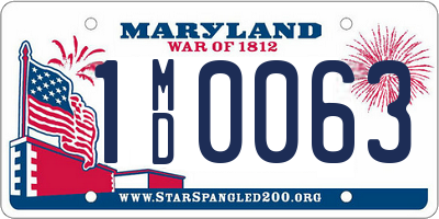 MD license plate 1MD0063