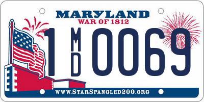 MD license plate 1MD0069