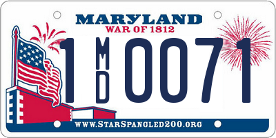 MD license plate 1MD0071