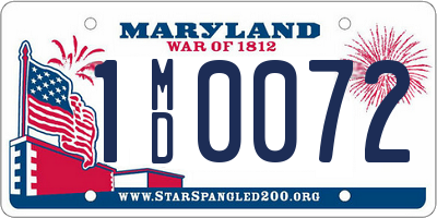 MD license plate 1MD0072