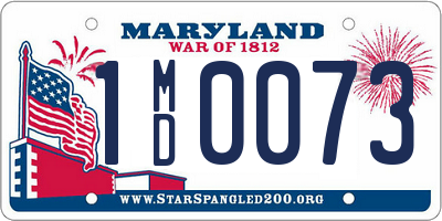 MD license plate 1MD0073