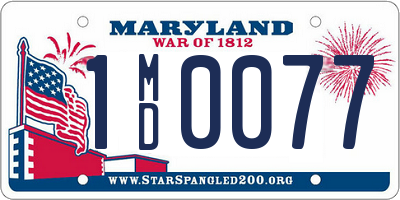 MD license plate 1MD0077