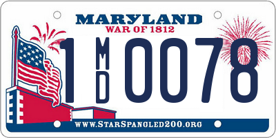 MD license plate 1MD0078