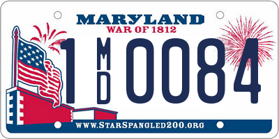 MD license plate 1MD0084