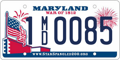 MD license plate 1MD0085
