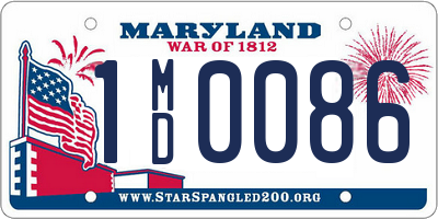 MD license plate 1MD0086