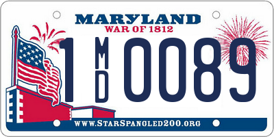 MD license plate 1MD0089