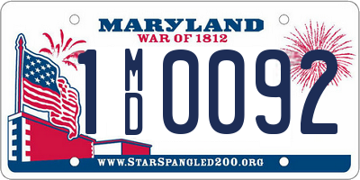 MD license plate 1MD0092