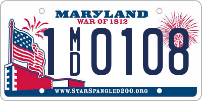 MD license plate 1MD0108