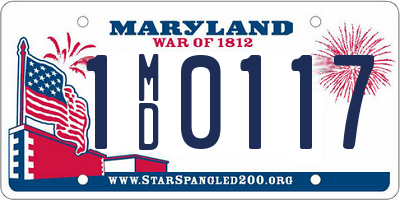 MD license plate 1MD0117
